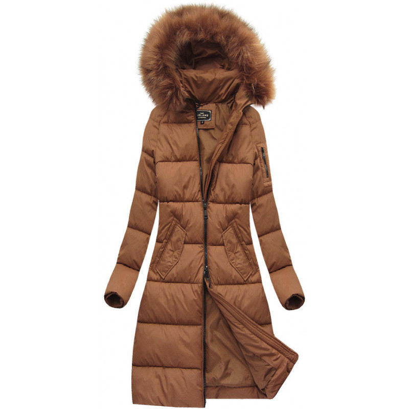 LONG HOODED WINTER JACKET GINGERBREAD (7751) striukė