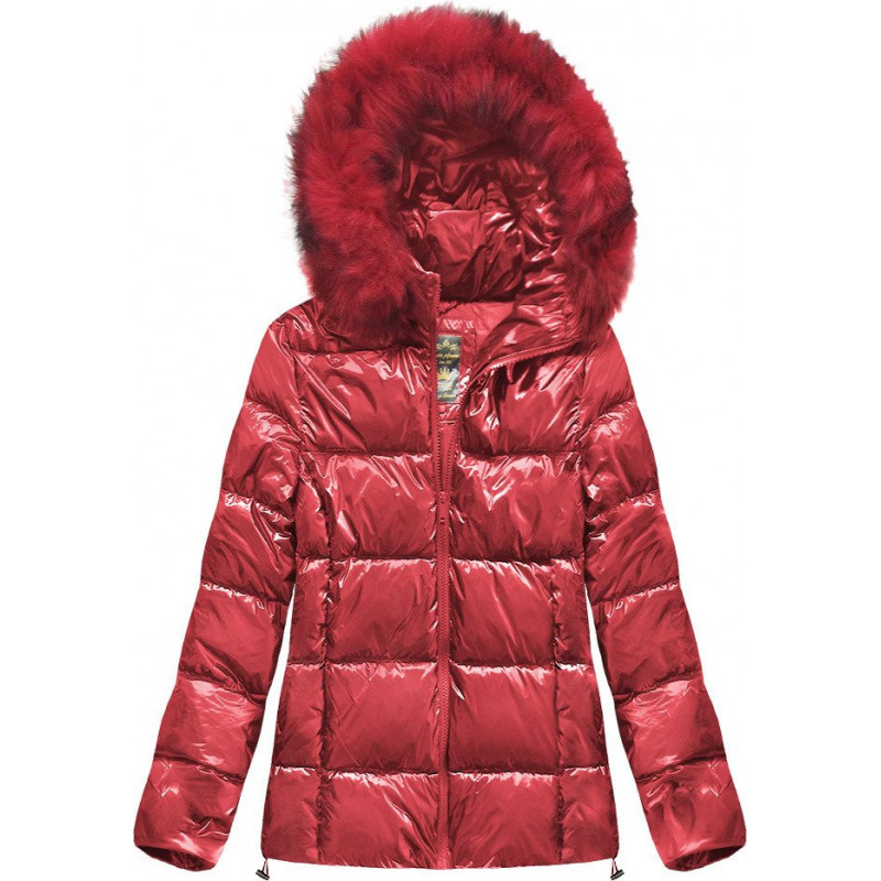 GLOSSY RED QUILTED JACKET (7693) striukė