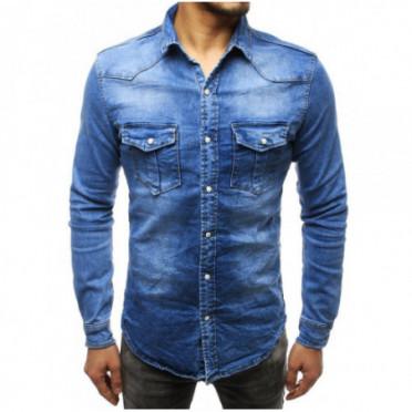 Marškiniai (Koszula męska jeansowa niebieska DX1789 - Drabuziai rubai internetu