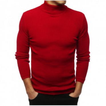 Megztinis (Sweter męski półgolf czerwony WX1432 - Drabuziai rubai internetu