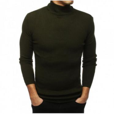 Megztinis (Sweter męski półgolf khaki WX1433 - Drabuziai rubai internetu