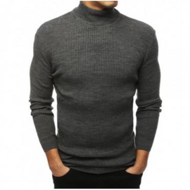 Megztinis (Sweter męski półgolf ciemnoszary WX1435 - Drabuziai rubai internetu