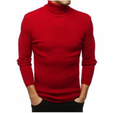 Megztinis (Sweter męski golf czerwony WX1445 - Drabuziai rubai internetu