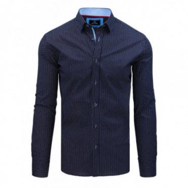 Marškiniai (Koszula męska PREMIUM z długim rękawem granatowa DX1792 - Drabuziai rubai internetu