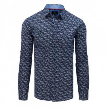 Marškiniai (Koszula męska PREMIUM z długim rękawem granatowa DX1798 - Drabuziai rubai internetu
