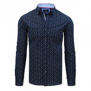 Marškiniai (Koszula męska PREMIUM z długim rękawem granatowa DX1800 - Drabuziai rubai internetu