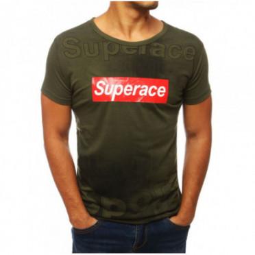 Marškinėliai (T-shirt męski z nadrukiem zielony RX3842 - Drabuziai rubai internetu