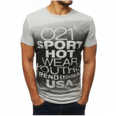 Marškinėliai (T-shirt męski z nadrukiem szary RX3863