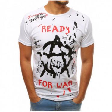 Marškinėliai (T-shirt męski z nadrukiem biały RX3729