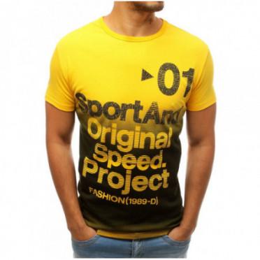 Marškinėliai (T-shirt męski z nadrukiem żółty RX3734 - Drabuziai rubai internetu