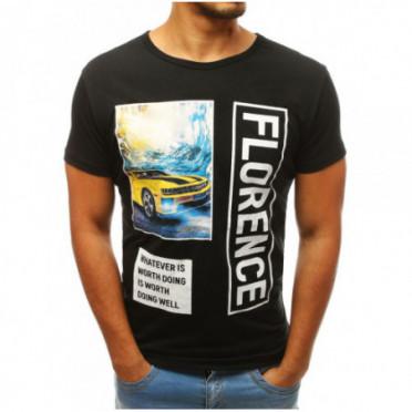 Marškinėliai (T-shirt męski z nadrukiem czarny RX3741