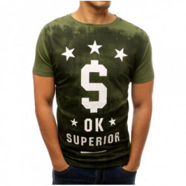Marškinėliai (T-shirt męski z nadrukiem zielony RX3787