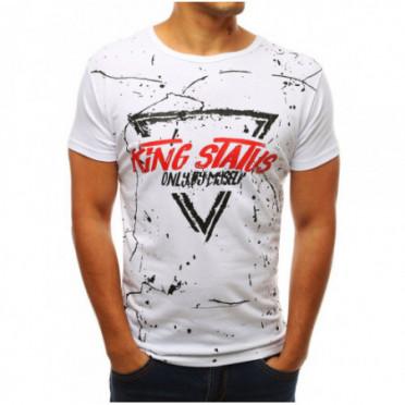 Marškinėliai (T-shirt męski z nadrukiem biały RX3772