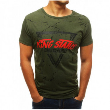 Marškinėliai (T-shirt męski z nadrukiem zielony RX3773 - Drabuziai internetu