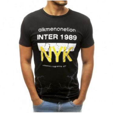 Marškinėliai (T-shirt męski z nadrukiem czarny RX3766