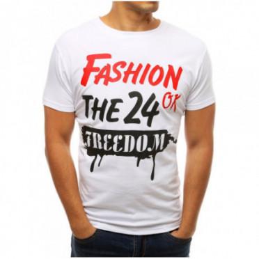 Marškinėliai (T-shirt męski z nadrukiem biały RX3771