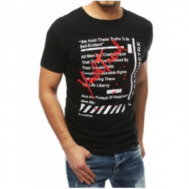 Marškinėliai (T-shirt męski z nadrukiem czarny RX3891
