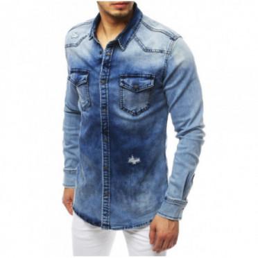 Marškiniai (Koszula męska jeansowa niebieska DX1835