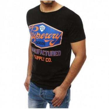 Marškinėliai (T-shirt męski z nadrukiem czarny RX3973