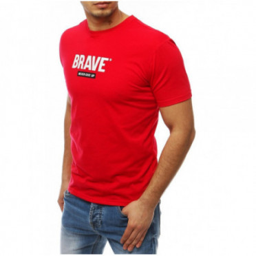 Marškinėliai (T-shirt męski z nadrukiem czerwony RX4092