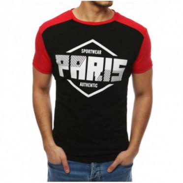 Marškinėliai (T-shirt męski z nadrukiem czarny RX4066