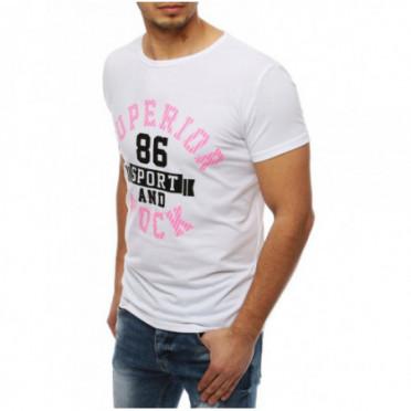 Marškinėliai (T-shirt męski z nadrukiem biały RX4007