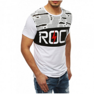 Marškinėliai (T-shirt męski z nadrukiem biały RX4047