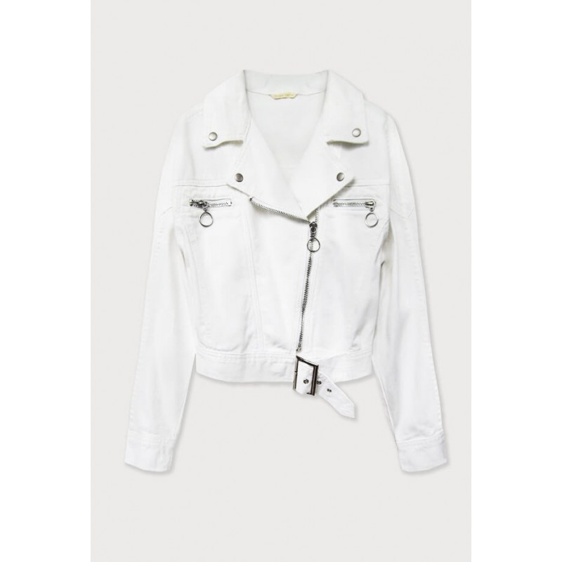 BLACK JEANS JACKET WITH COLLAR AND JEWELRY (L1815) striukė